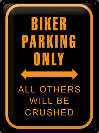 postershop okrasna tabla biker parking only 30 x 40 cm. Black Bedroom Furniture Sets. Home Design Ideas